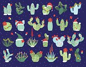 Christmas or Holiday Themed Cactus and Succulent Collection. No transparencies or gradients used.