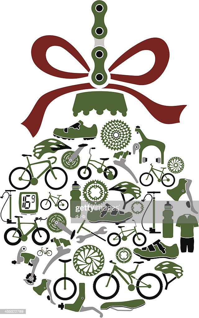 christmas ornament ball made from bikes and bike part icons vector art - Bicycle Christmas Ornament