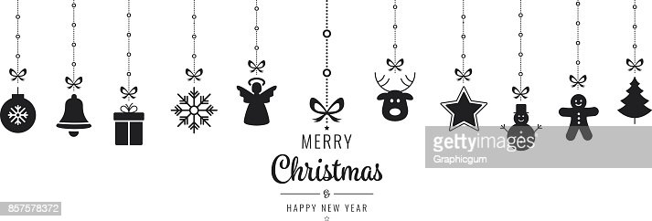 christmas ornament elements hanging black isolated background : Vector Art