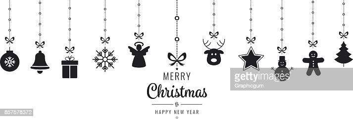 Christmas Ornament Elemente hängen von schwarzem Hintergrund isoliert : Vektorgrafik