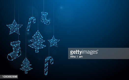 Christmas ornaments hanging form lines, triangles and particle style design. Illustration vector : Vector Art