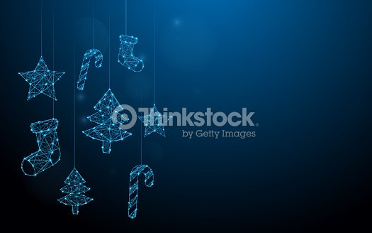 Christmas ornaments hanging form lines, triangles and particle style design. Illustration vector : stock vector