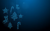Christmas ornaments hanging form lines, triangles and particle style design. Illustration vector
