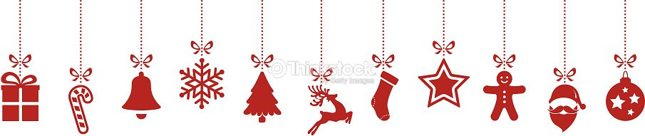 Christmas Ornaments Hanging Red Isolated Background Vector Art