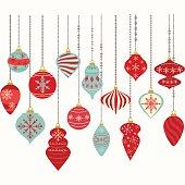 The vector for Christmas Ornaments,Christmas Balls Decorations,Christmas Hanging Decoration set.
