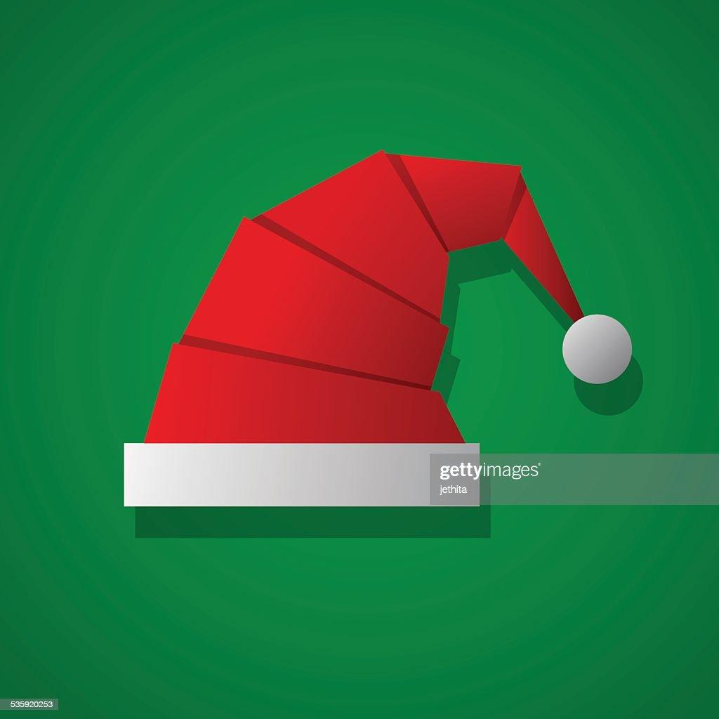 christmas paper hat flat design : Vector Art