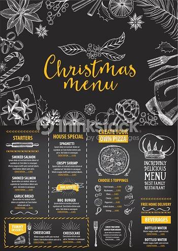 Christmas party invitation restaurant food flyer vector art thinkstock christmas party invitation restaurant food flyer vector art stopboris Images