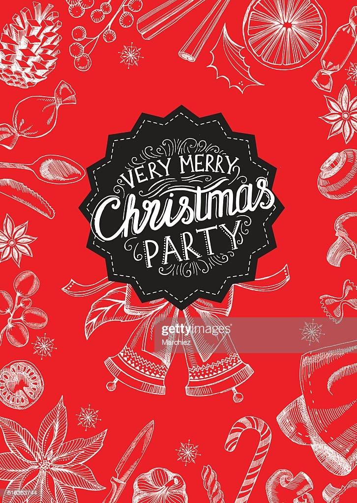 Christmas party invitation restaurant. Food menu. : Vector Art