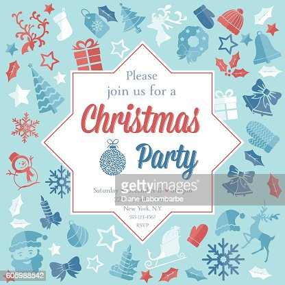 christmas party invitation template vector art  getty images, Party invitations
