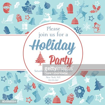 Christmas Party Invitation Template Vector Art – Template for Christmas Party Invitation
