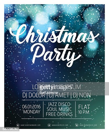 Christmas Party Lettering and Snow : Vector Art