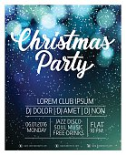 Christmas Party lettering. Christmas invitation with snow, blurry circles in background. Sample text. Handwritten text, calligraphy. For invitations, posters, banners, leaflets and brochure.