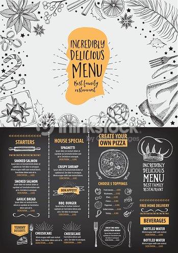 Christmas Restaurant Poster.Christmas Party Menu Restaurant Food Flyer Stock Vector