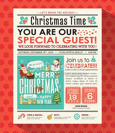 christmas party poster invite background in newspaper style vector art