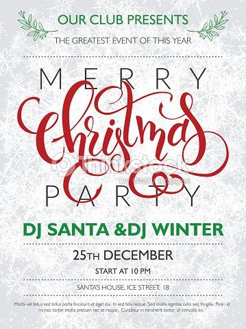 Christmas Party Poster.Christmas Party Poster With Lettering On Frozen Background