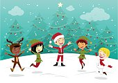 Children having fun in Christmas costumes.