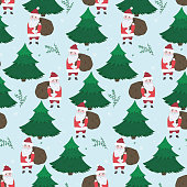 Cute Christmas seamless pattern with doodle Santa Claus with gifts in fir forest. Winter texture with branches and snowflakes for textile, wrapping paper, wallpaper, new year decor