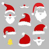 Christmas photo booth and  scrapbooking vector  set Santa,