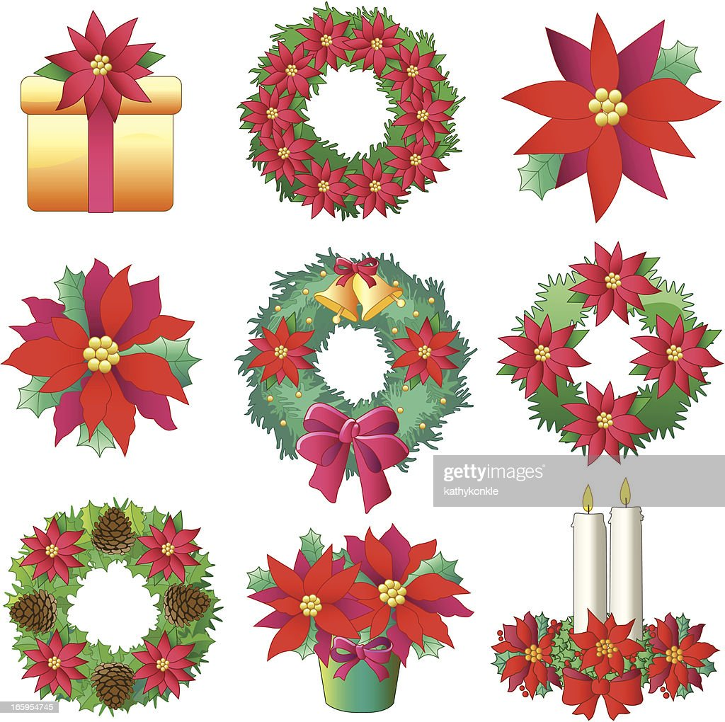 christmas poinsettia decorations vector art getty images