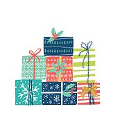 Christmas presents set. Vector winter holidays background.