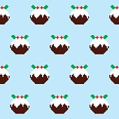 Repetitive design wit Christmas puddings on blue background