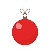 Christmas red ball ornament illustration