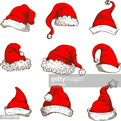 Christmas red hat or cap of Santa and elf icon : Arte vectorial