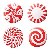 Striped peppermint candies without wrapper. Qualitative vector design element for christmas, new year's day, winter holiday, dessert, new year's eve, food, silvester, etc. It has transparency, blendin