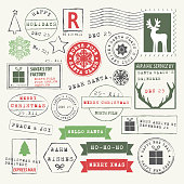 Vector Illustration of Christmas stamps and wishes. Letter to Santa Rubber Stamps. Dear Santa, Ho-Ho-Ho, Merry Christmas, Hello Santa, Santa Claus reindeer, Express Delivery, North Pole post office