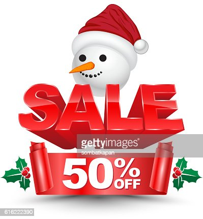 3D christmas sale 50 percent off red banner : Arte vettoriale