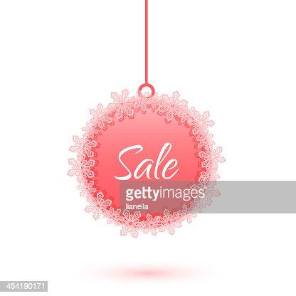 snowflakes venta de Navidad con bolas : Arte vectorial