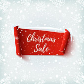 Christmas Sale banner. Red abstract ribbon on winter background with snow and snowflakes. Vector illustration.