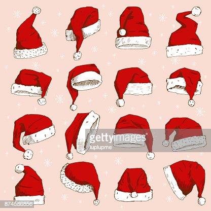 Navidad Santa Claus sombrero vector noel aislado elemento de ilustración año nuevo cristianos Navidad fiesta diseño decoración sombrero : Arte vectorial