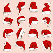 Christmas Santa Claus hat vector noel isolated illustration New Year Christians Xmas party design decoration hat element. Red color Santa Claus hat