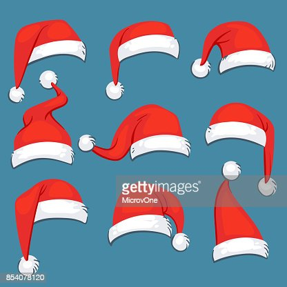 Dibujos animados sombreros vector aislado conjunto de Navidad santa claus rojo : Arte vectorial