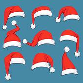Christmas santa claus red cartoon hats isolated vector set. Santa claus hat, christmas holiday clothing costume cap illustration