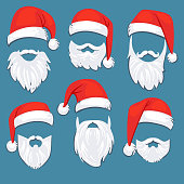 Christmas Santa Claus red hats with white moustache and beards vector set. Santa claus mask with beard for xmas holiday illustration
