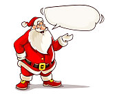 Christmas Santa Claus speaking with message cloud. Cartoon character, isolated on white background. EPS10 vector illustration.