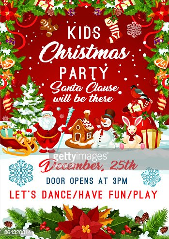 Christmas Santa gifts tree party vector poster : Arte vetorial