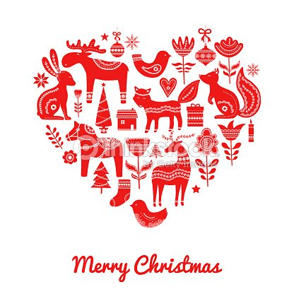 Christmas Heart Vector.Christmas Scandinavian Elements In Heart Vector Art Thinkstock