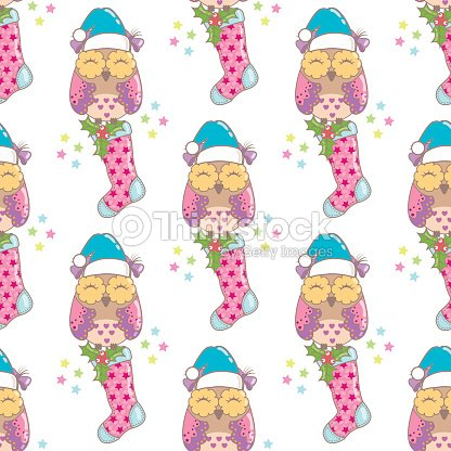 christmas seamless background with owls and new year with the socks vector art