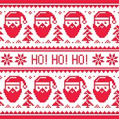 Winter, Xmas pattern Ho! Ho! Ho! background in red and white