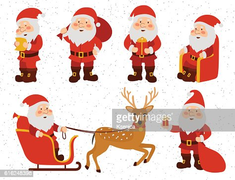Christmas set. Collection Of Santa Claus. : Vector Art