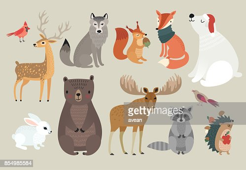 Christmas set, hand drawn style - forest animals. \ : Vector Art