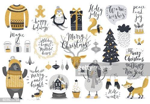 Christmas set, hand drawn style : Vektorgrafik
