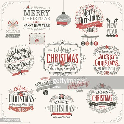 Christmas set-Etiketten : Vektorgrafik