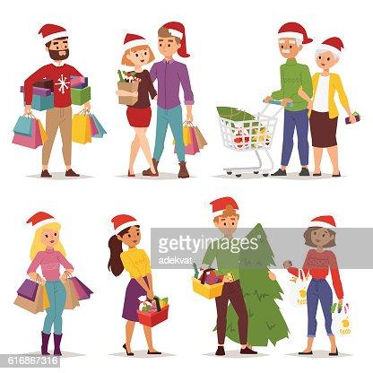 Christmas shopping people vector : Vector Art
