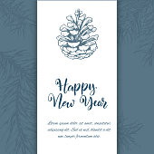 Christmas sketch hand drawn illustration with pine tree branches and cones. Vector illustration for your design. Template greeting card with pine tree branches. Engraved style illustration.