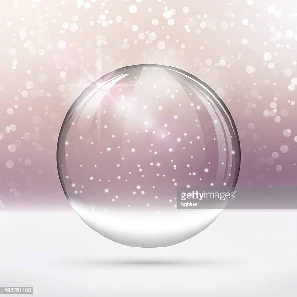 Christmas snow globe. Merry Christmas lettering on bright purple Background