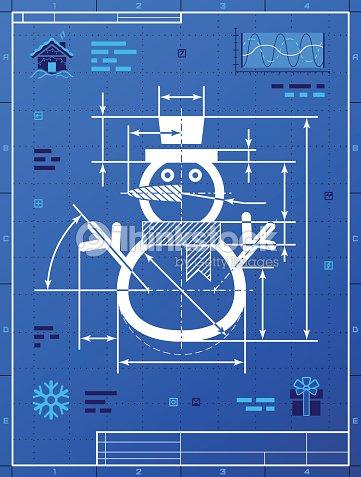Christmas Snowman Symbol As Blueprint Drawing Vector Art Thinkstock